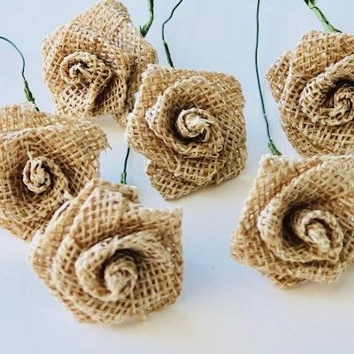 Burlap Natural Mini Rose Flower Stems