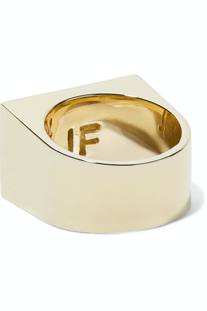 Stripe Signet Gold-Plated Pinky Ring