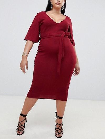 Kimono Sleeve Plunge Midi Dress