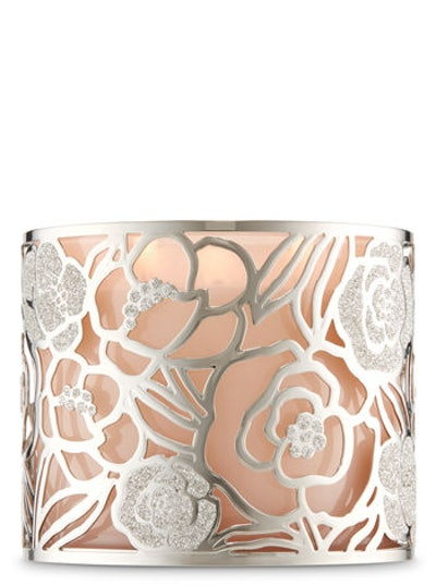 Silver Rose 3-Wick Candle Holder