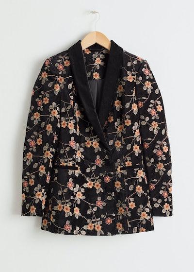 Floral Embroidered Velvet Blazer