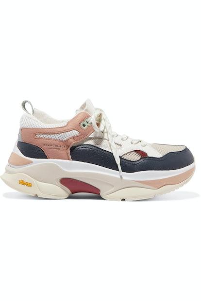Saga Mesh-Paneled Leather Sneakers