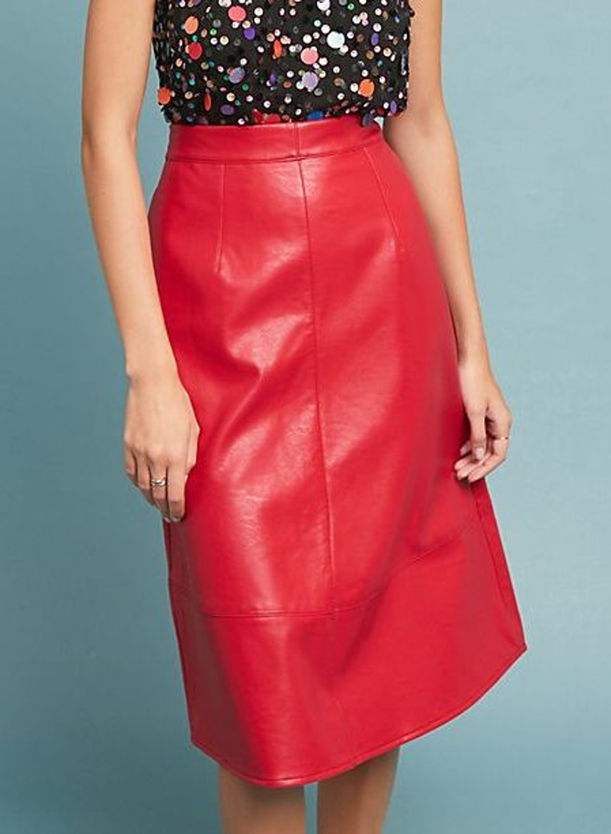 Dauphine Faux Leather Skirt