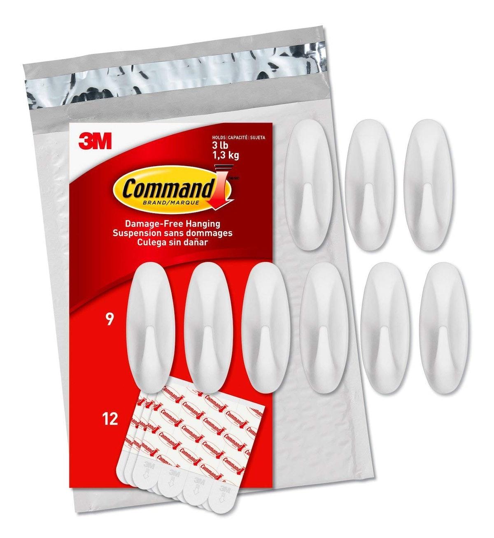 Command Medium Designer Hooks, White, 9-Hooks
