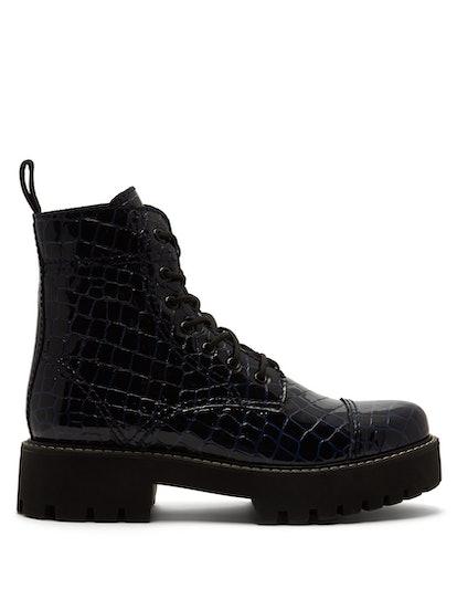 Crocodile-Effect Leather Boots