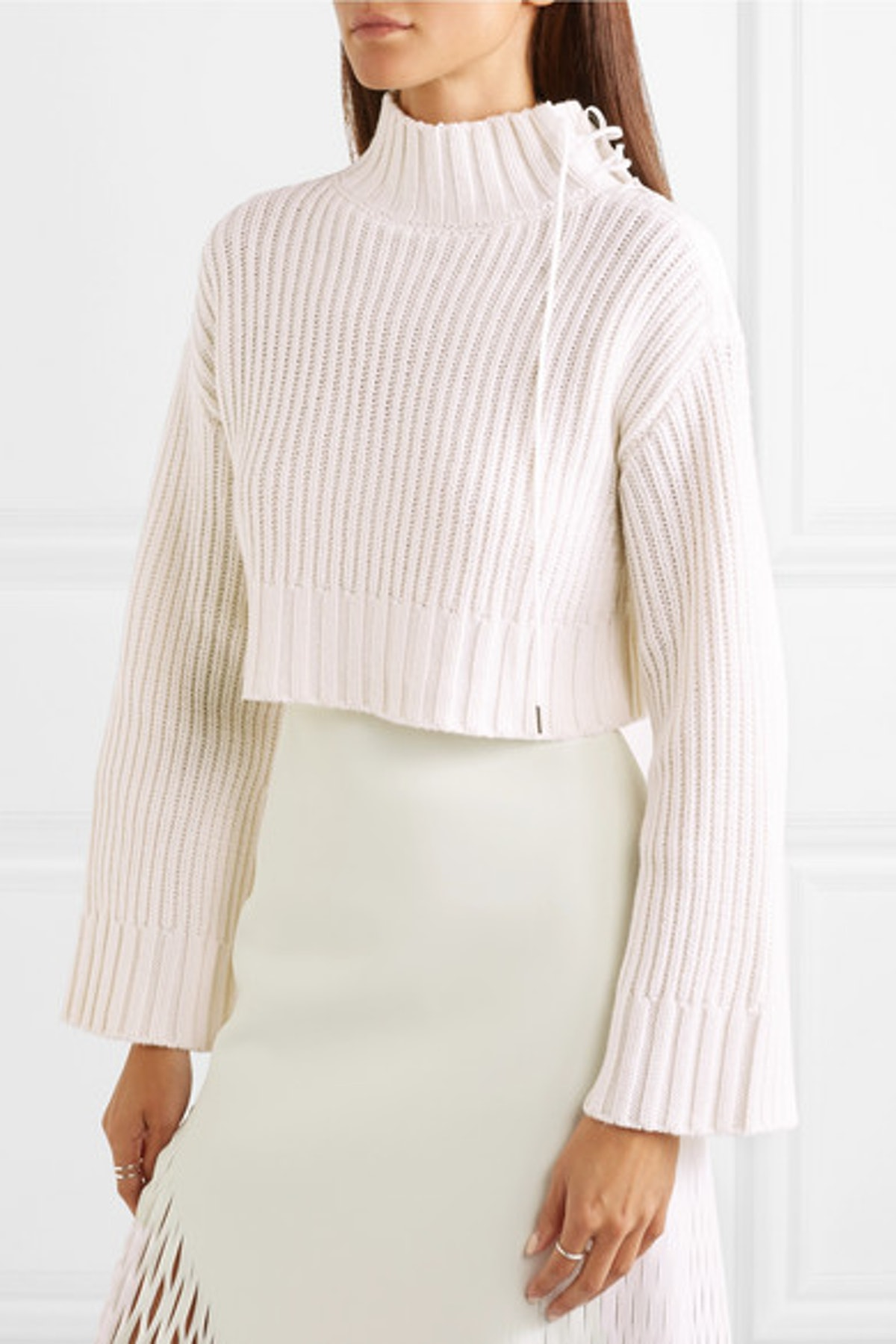 Aviation Cropped Ribbed Wool-Blend Turtleneck Sweater