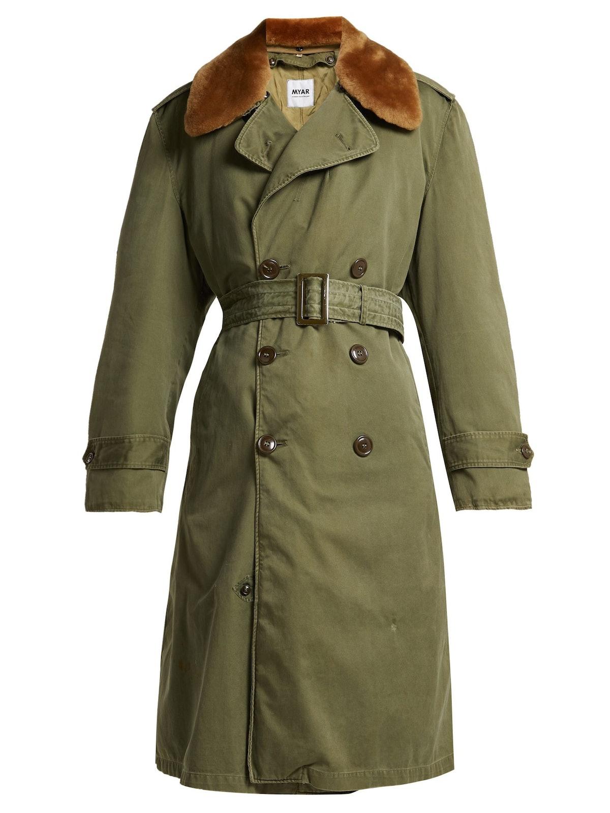 Wool-Blend Gabardine Trench Coat