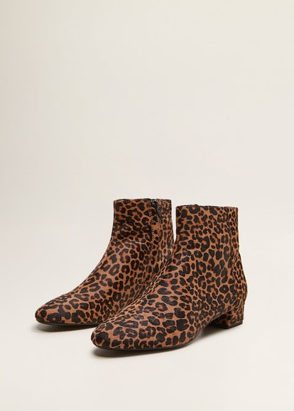 Leopard-Print Leather Ankle Boots
