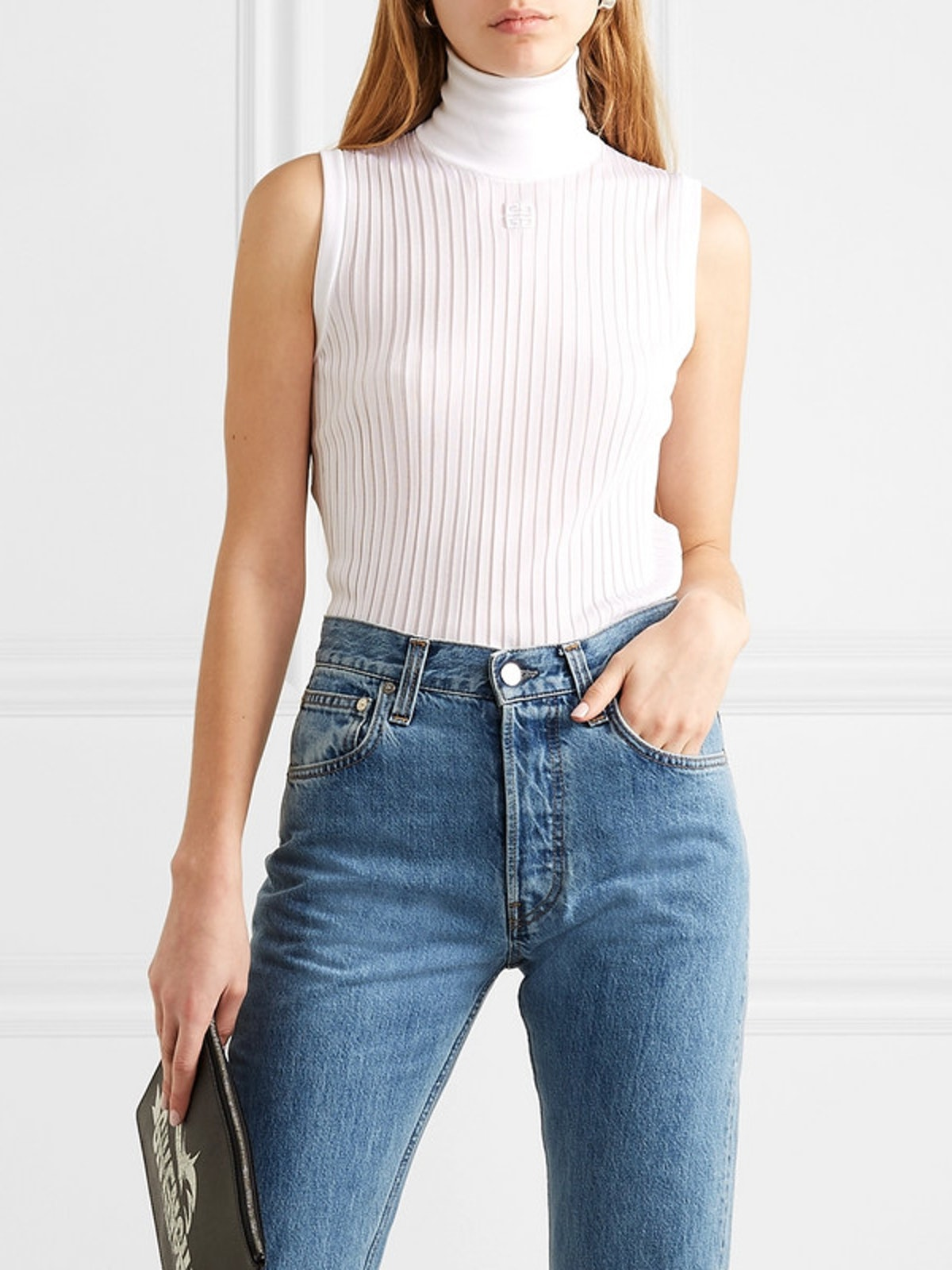 Embroidered Ribbed Knitted Turtleneck Top