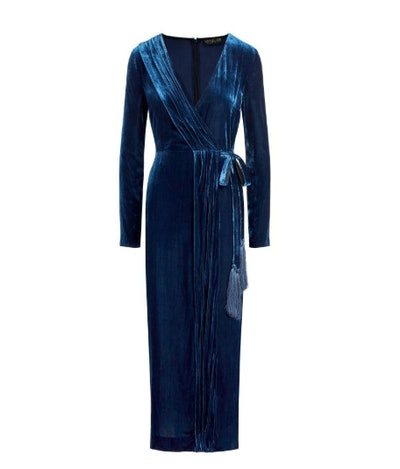 Aly Velvet Faux Wrap Midi Dress
