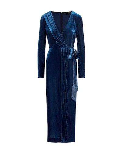 Aly Velvet Faux Wrap Midi Dress