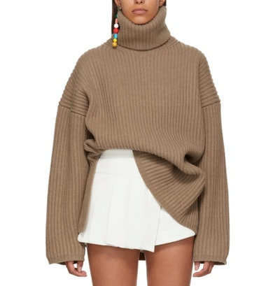 Brown Ribbed Turtleneck
