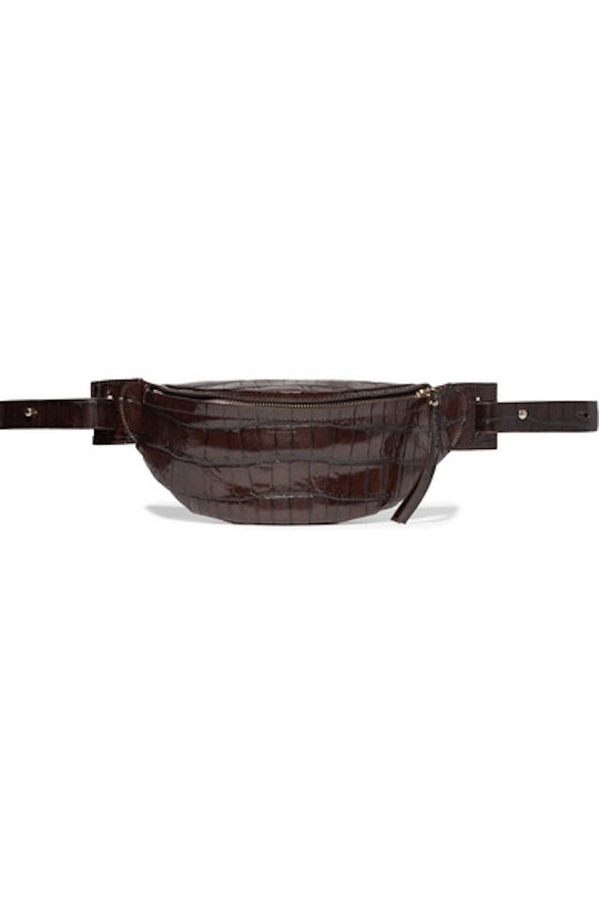 Croc-Effect Leather Belt Bag