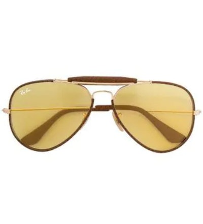 Brown Metal and Calf Leather Aviator Sunglasses