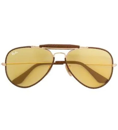 Brown Metal and Calf Leather Aviator Sunglasses