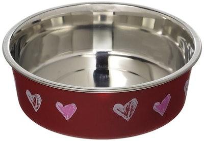 Metallic Pet Bowl With Hearts