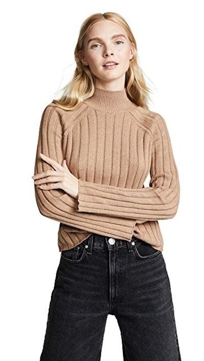 Wide Rib Turtleneck Sweater in Camel