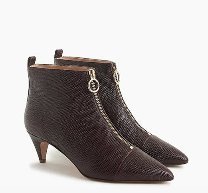 Pointy Kitten-heel Ankle Boots With Front Zip