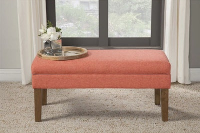 HomePop Mango Coral Chunky Textured Decorative Storage Bench