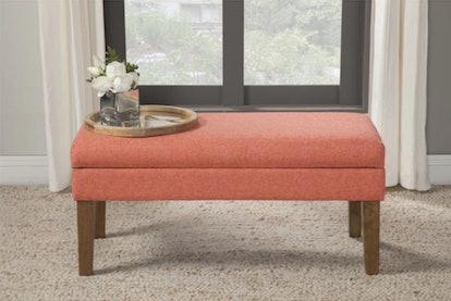 HomePop Mango Coral Chunky Textured Decorative Storage Bench