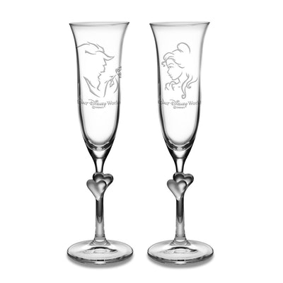 Beauty and the Beast Glass Flute Set