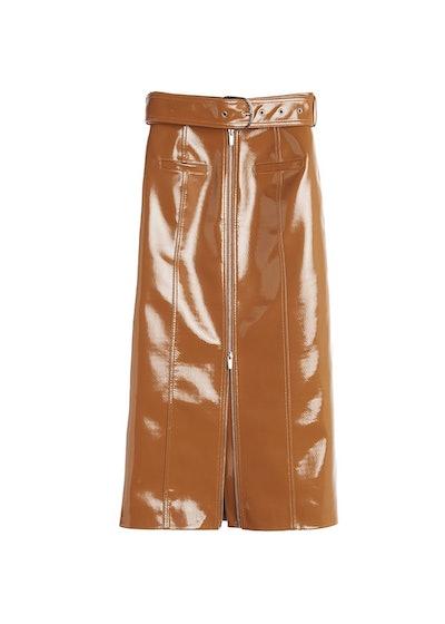 The Frankie Shop Caramel Patent Pencil Skirt