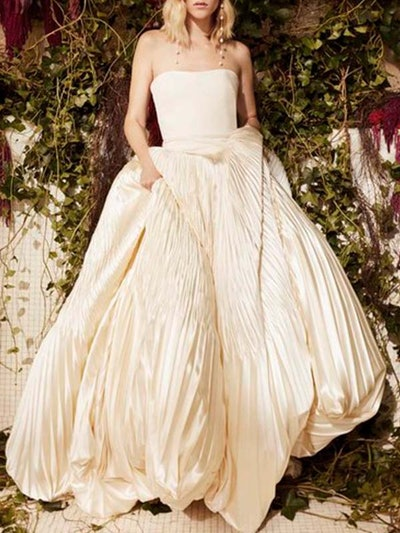 Tilda Dropped Waist Pleated Satin And Crepe Ballgown