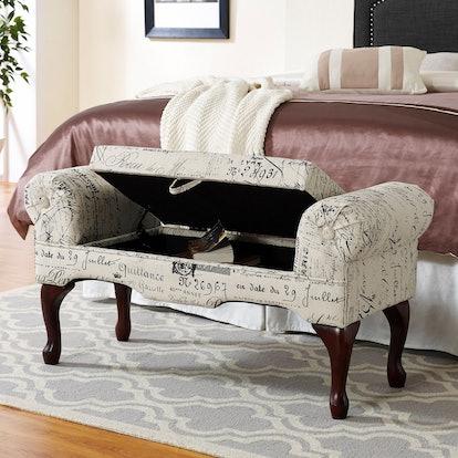Roundhill Furniture Lilion English Script Print Storage Arm Bench