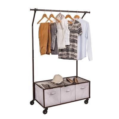 Bronze Portable Garment Rack with Storage Bins