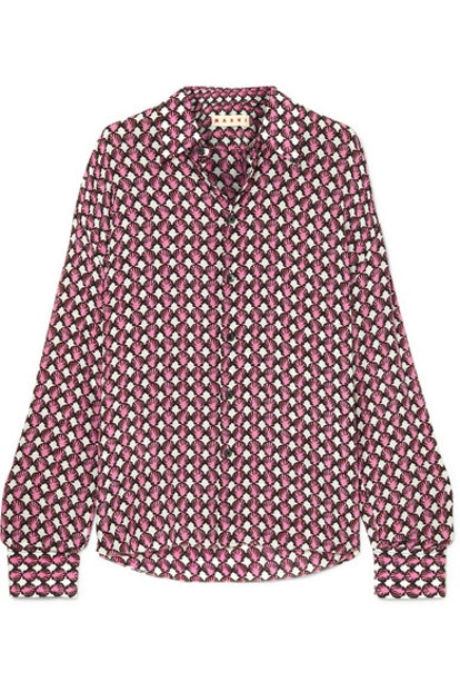 Marni Printed Silk-Crepe Shirt