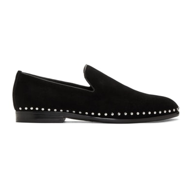 Black Suede Studded Marlo Loafers