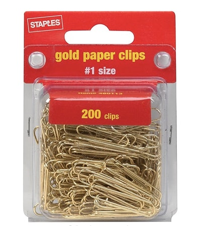 Smooth Gold Paper Clips, #1 Size, 200/Pack