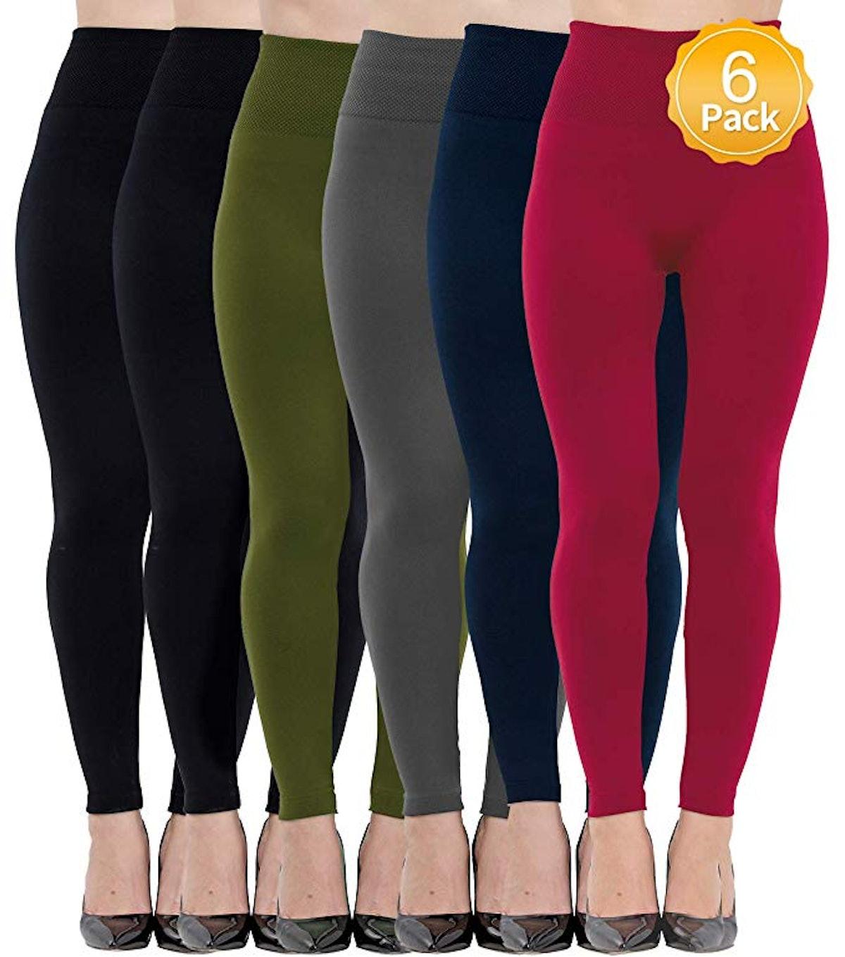 Diravo Women's Fleece Lined Leggings (6 Pack)