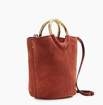 Bracelet Bucket Bag in Italian Suede, Deep Redwood