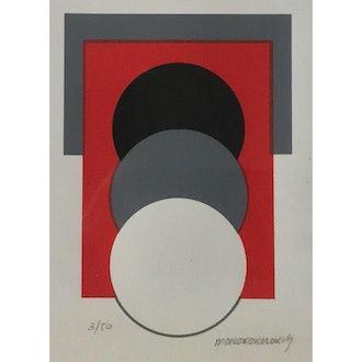 1960s Vintage Monokokolokis Op Art Serigraph Print