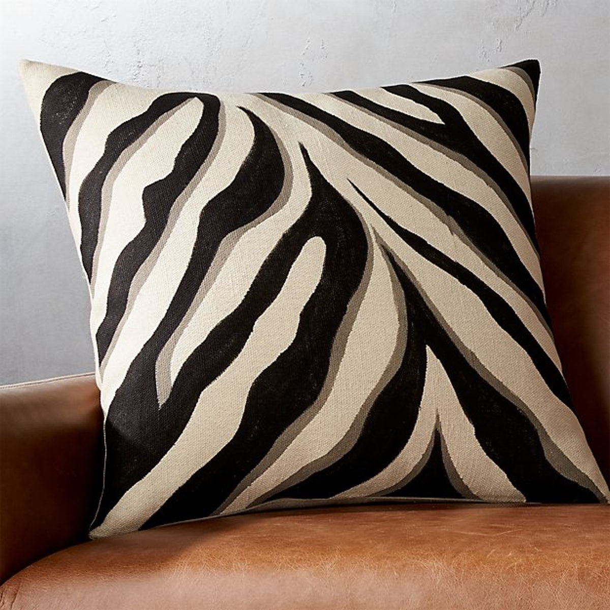 """23"""" Handpainted Zebra Print Pillow"""