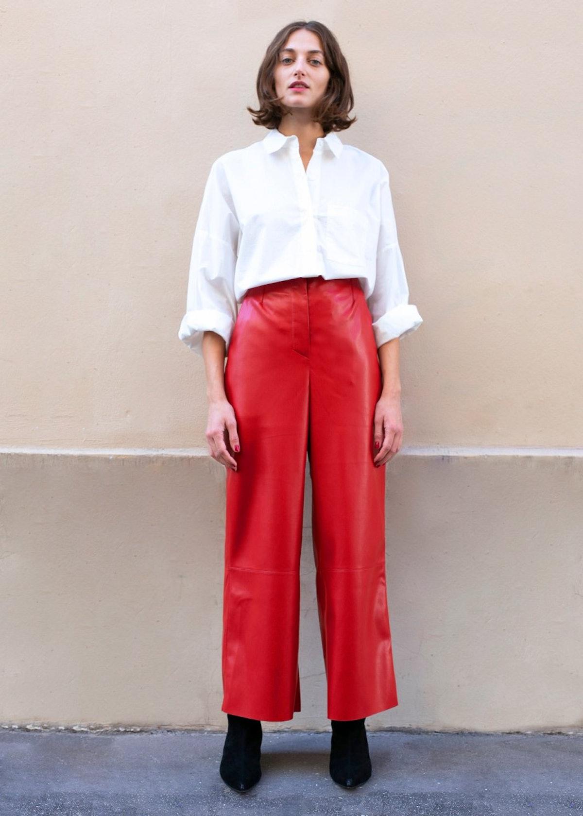 Africa Red Vegan Leather Pants by Nanushka