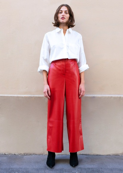 Africa Red Vegan Leather Pants by Nanushka