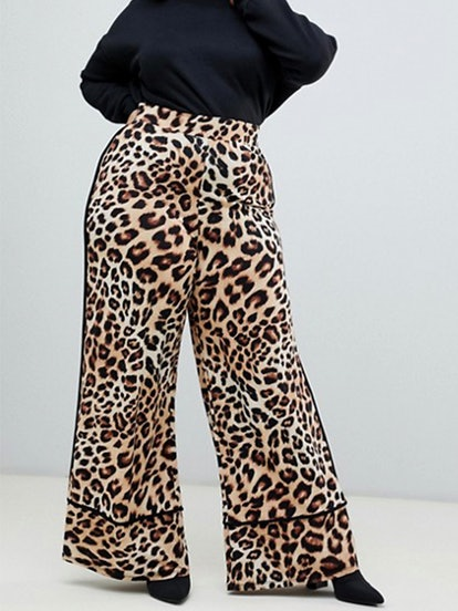Curve Wide Leg Pants With Contrast Binding In Leopard Print