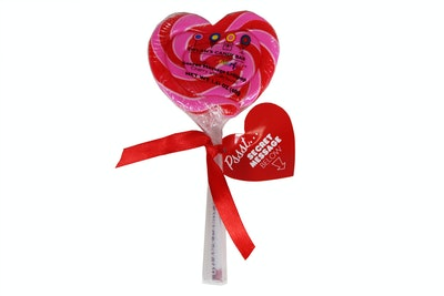 Dylan's Candy Bar Cherry Heart Shaped Secret Message Lollipop