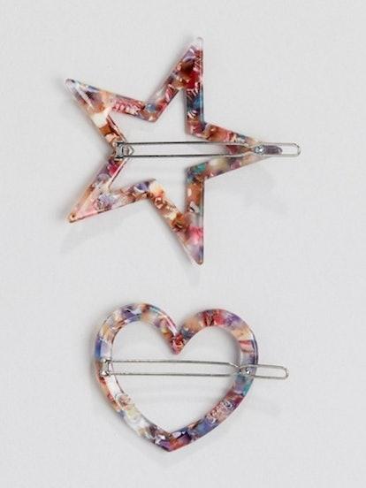 Stradivarius set of 2 star & heart hairclips