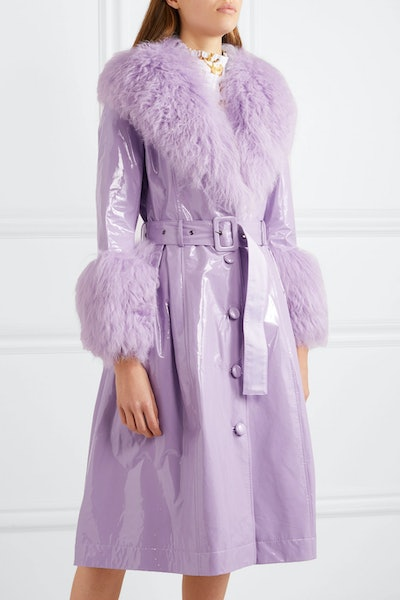 Belted Shearling-Trimmed Patent-Leather Coat