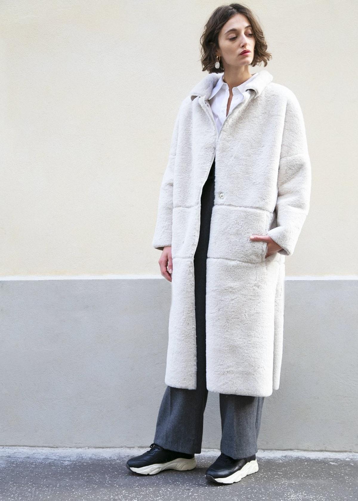 Snap Front Cream Faux Fur Coat