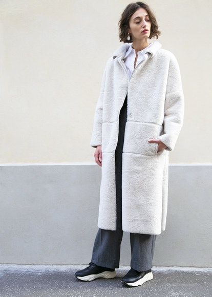 Snap Front Cream Faux Fur Coat