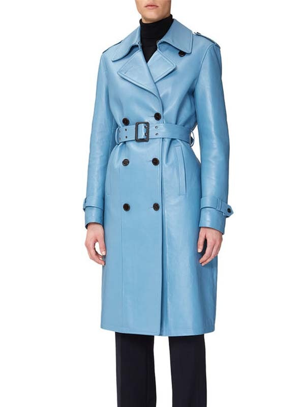 f849e52ea3c Lady Gaga s Blue Leather Trench Coat Is Surprisingly Easy To Style