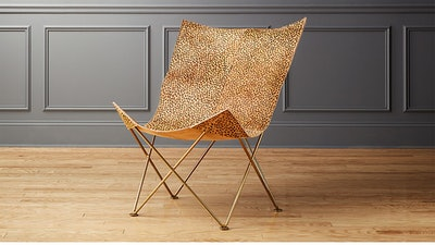 Animal Print Leather Butterfly Chair