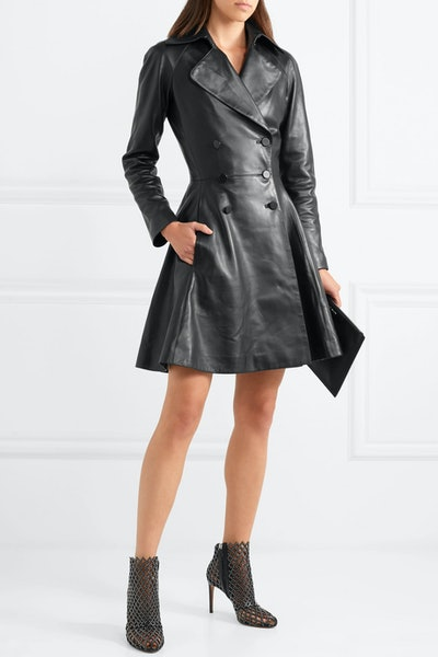 Double-Breasted Leather Coat