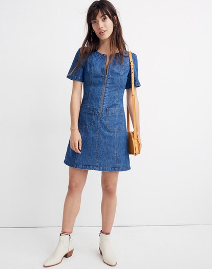 Denim A-Line Zip Dress