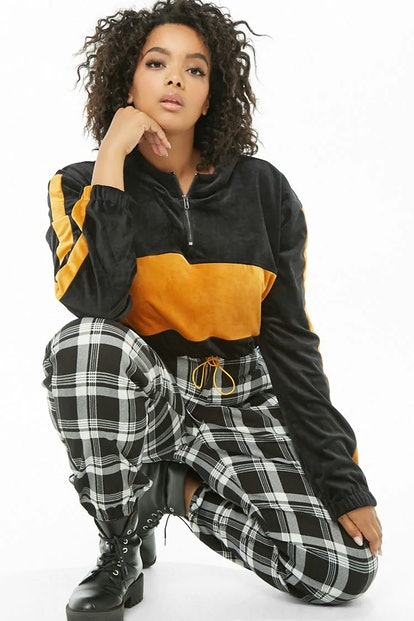 Plus Size Cropped Colorblock Hoodie
