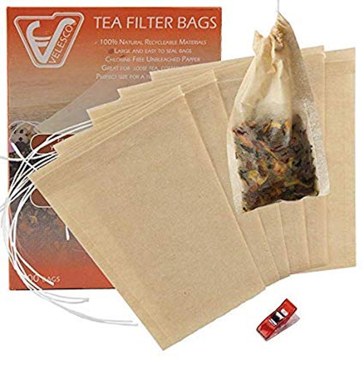 Velesco Tea Filter Bags Disposable Tea Infuser with Drawstring